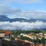 View from Nel Cielo balcony across Barga to le Alpi Apuane (October)