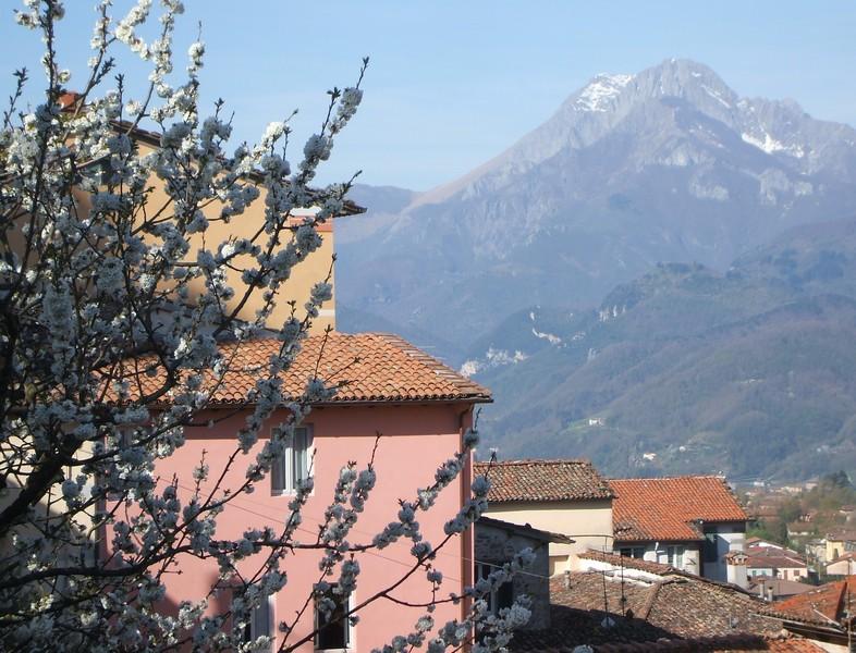 Spring view of Nel Cielo di Barga and Pania della Croce